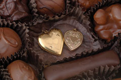 gift chocolates with hearts